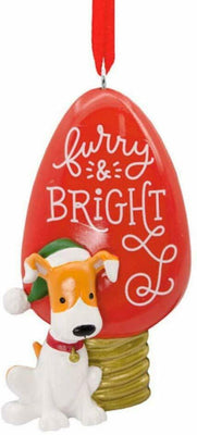 Hallmark Furry and Bright Dog Light Bulb Christmas Gift Ornament - Piglet's Closet