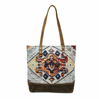 Myra Upcycled Street Dancer Tapestry Canvas and Leather Tote Bag Purse - Piglet's Closet