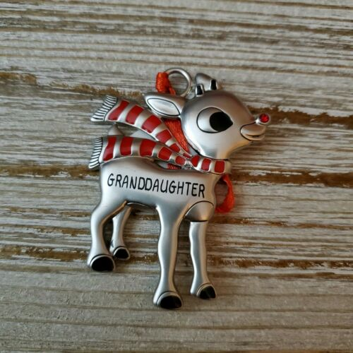 Hallmark Rudolph The Red Nosed Reindeer GRANDDAUGHTER Metal Ornament - Piglet's Closet