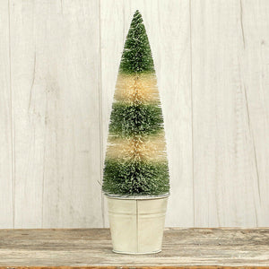 "Ragon House 12"" Green and Ivory Striped Bottlebrush Tree - Piglet's Closet"