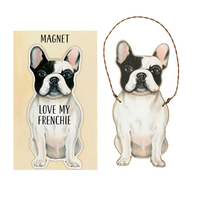 Primitives by Kathy Dog Magnet and Ornament Set - Frenchie - Piglet's Closet