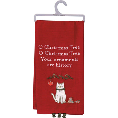 PBK Oh Christmas Tree, Your Ornaments Are History Cat Embroidered Dish Towel