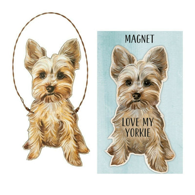 Primitives by Kathy Dog Magnet and Ornament Set - Yorkie - Piglet's Closet