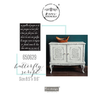 "Butterfly Script - Redesign with Prima 8.5"" x 9.6"" Decor Stencil - Piglet's Closet"