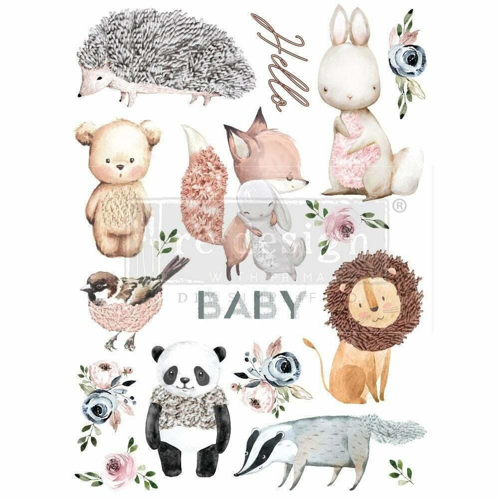 "Re-design Prima Hello Baby Nursery Furniture Decor Transfer 22""x 30"" - Piglet's Closet"