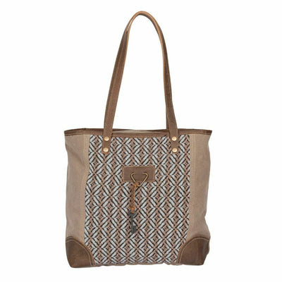 Myra Upcycled Hot Chocolate Tapestry Canvas and Leather Tote Bag Purse - Piglet's Closet