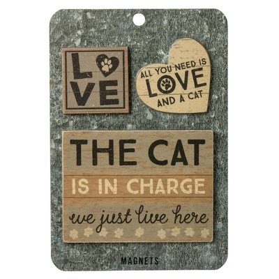 PBK The Cat is In Charge We Just Live Here Magnet Memo Holder Set - Piglet's Closet