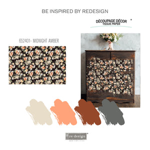 Midnight Amber Re-design with Prima Mulberry Tissue Decoupage Paper - Piglet's Closet