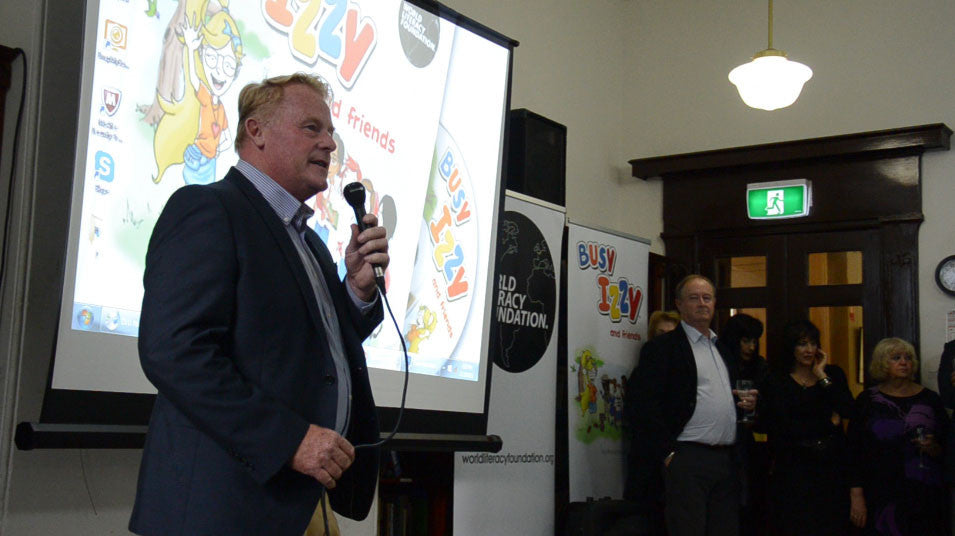 World Literacy Foundation CEO, Andy Kay at the launch of Busy Izzy and friends, 2015