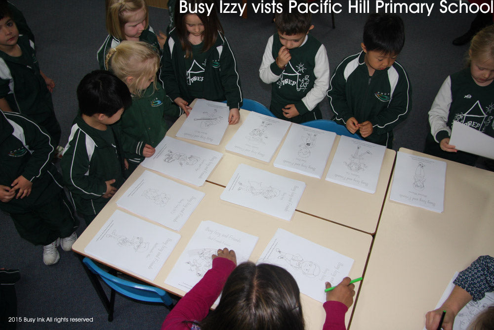 Choosing Busy Izzy pictures to colour in