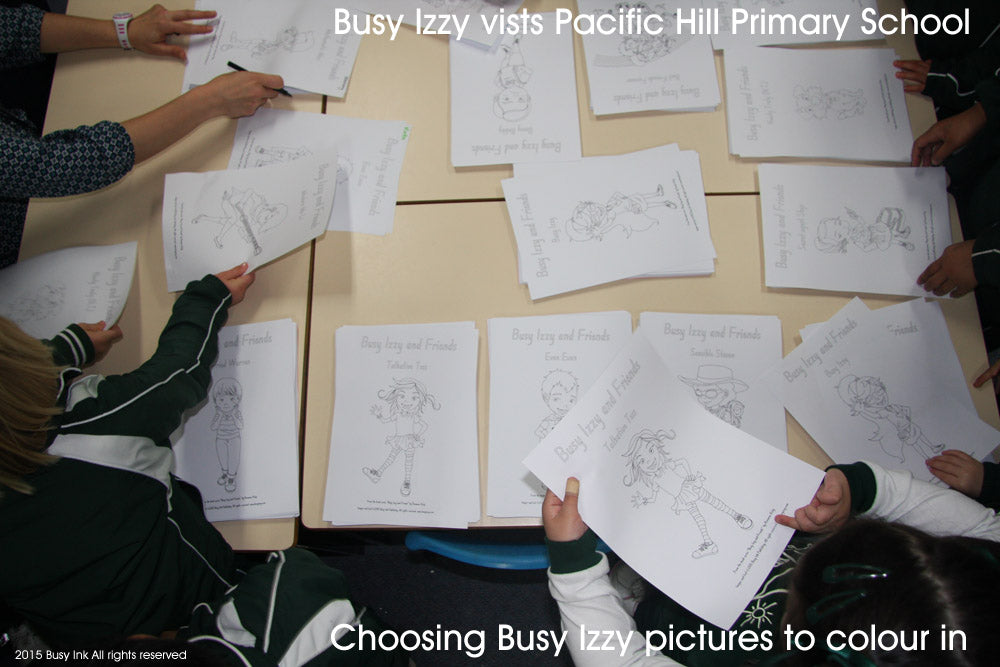 Pacific Hills Primary School students choose Busy Izzy pics to colour in
