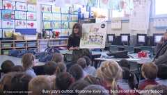 Roxanne Kiely talking to students at Beaumont Rd Primary School about Busy Izzy.