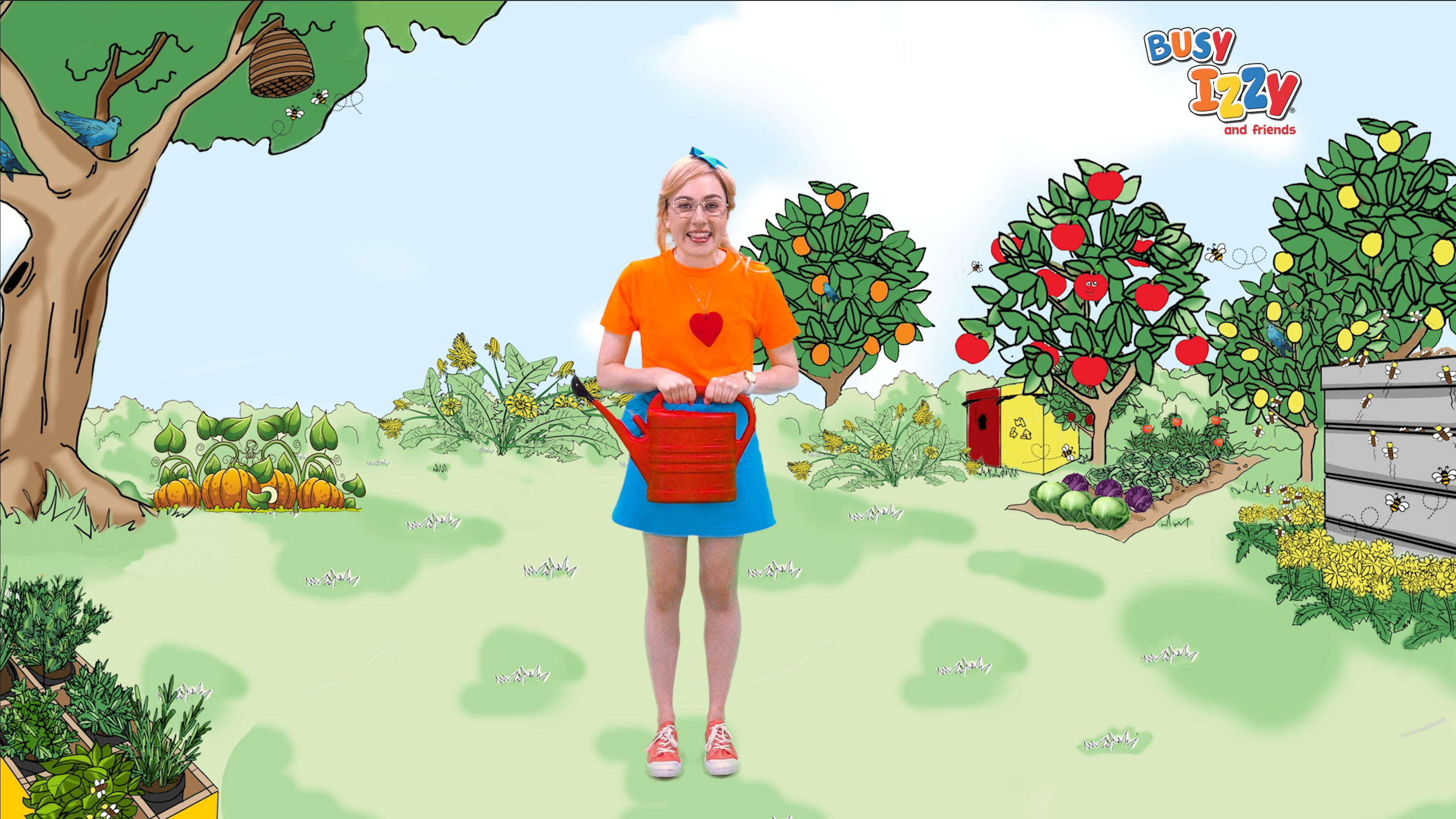 Busy Izzy watering her garden and citrus trees.