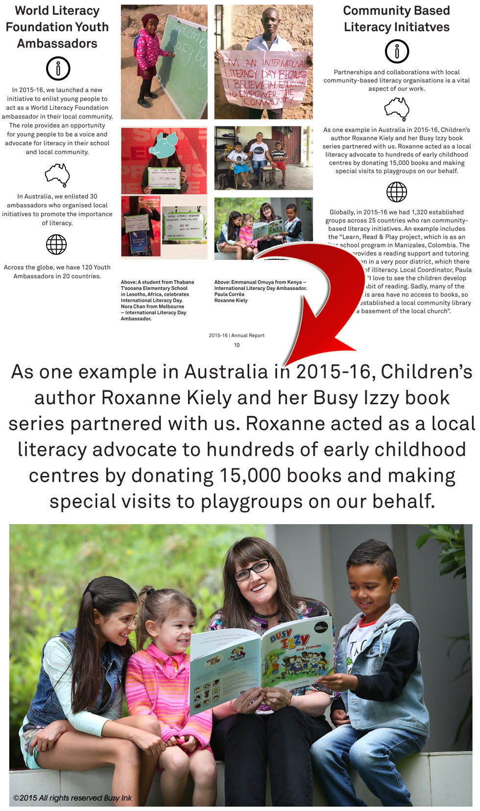 World Literacy Foundation Annual Report 2015-16 referencing Roxanne Kiely and the Busy Izzy project