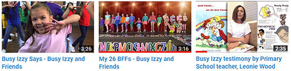Busy Izzy YouTube video thumbnails
