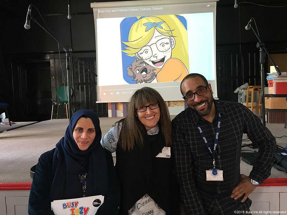 Teacher Fatima Hamadi, with Roxanne and Teacher Abdul Salam
