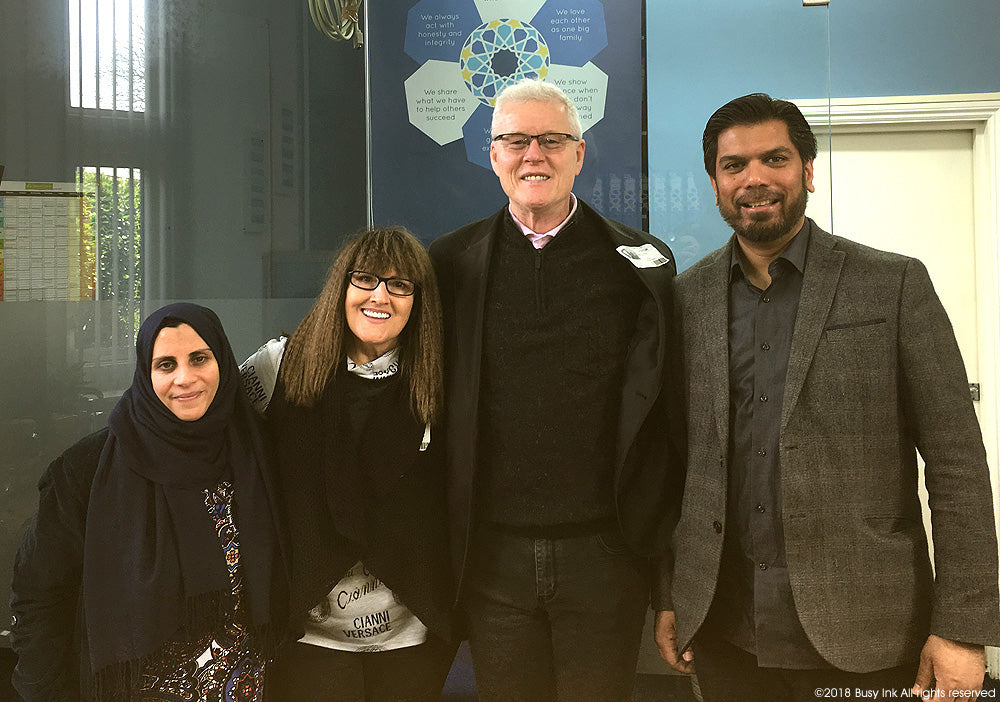Teacher Fatima Hamadi, Roxanne Kiely, Stephen Kiely and Head Teacher Babar Mirza