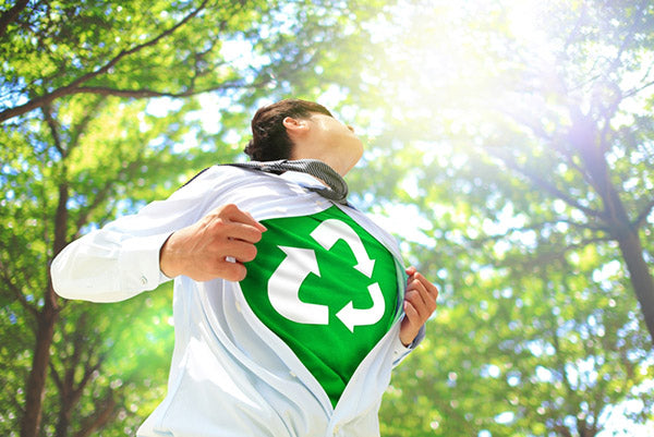 man with recycling shirt on