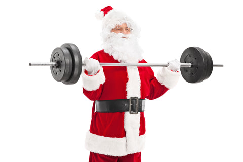 Santa Clause holding weight