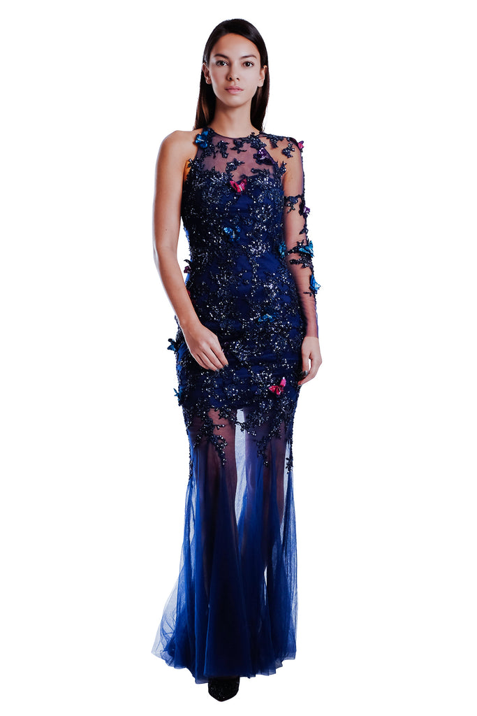 Adrianne One Shoulder Butterfly Gown