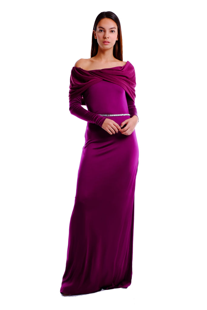 Lynette Off-Shoulder Jersey Gown