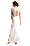 Elisabeth High-neck Lace Gown (White)