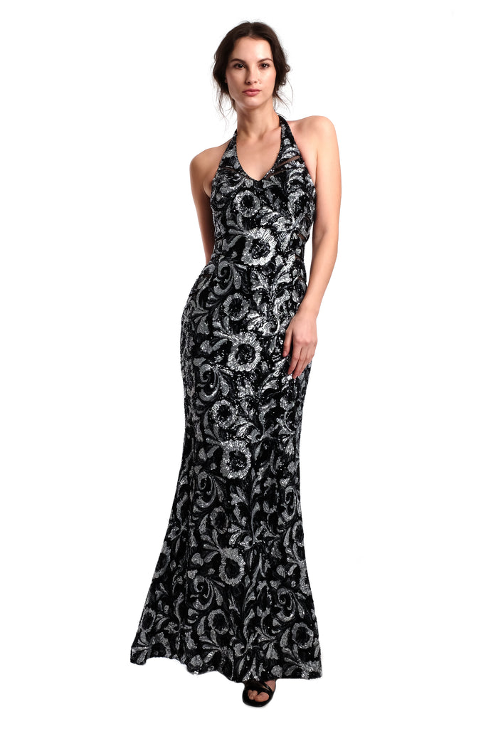 Gianna Halter Sequins Gown (Black)