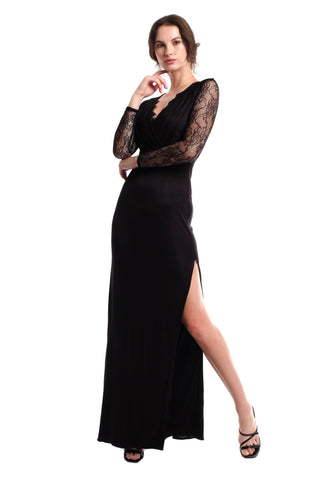 Julippa Long Sleeves Lace Gown - Black