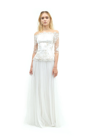 Julippa Long Sleeves Lace Gown - White