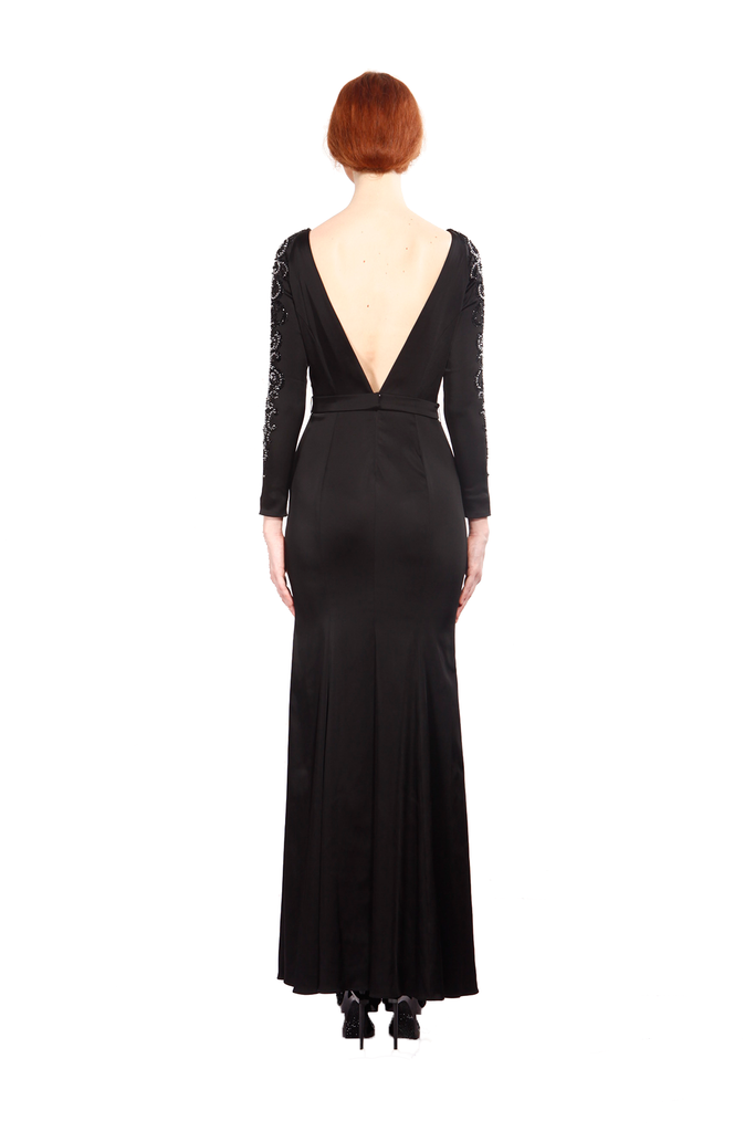 Julianna Bejeweled Low Back Gown