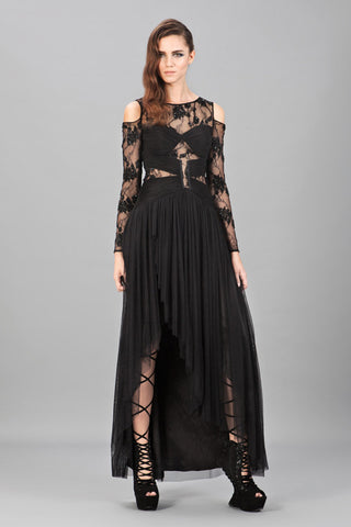 Helena Sequins Cape Gown