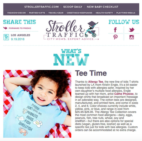 Allergy Tee is honored to be featured in Stroller Traffic's Newsletter!