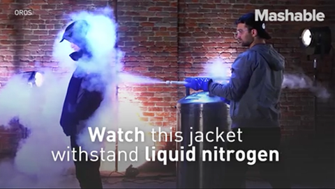 Watch this aerogel insulated jacket withstand liquid nitrogen