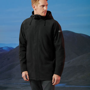 Man wearing the first generation Orion Parka, color:Black