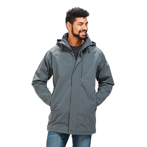 Man wearing the first generation Orion Parka, color:Mercury