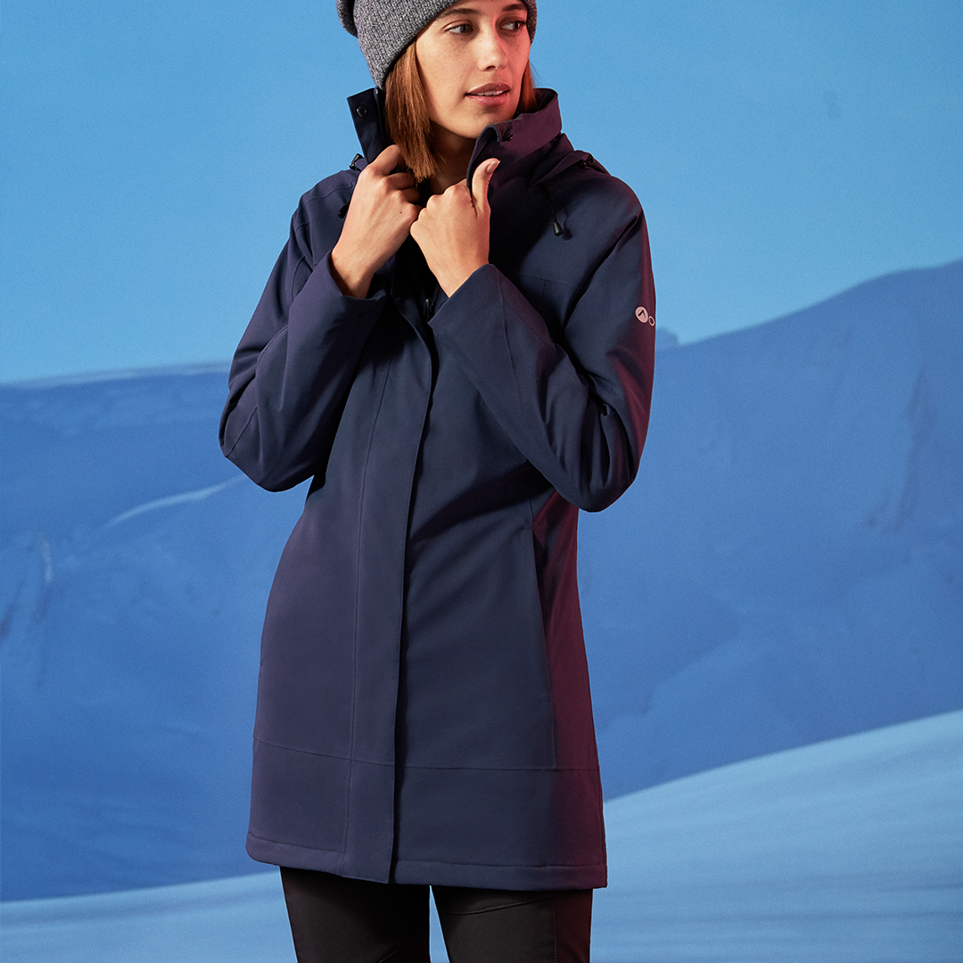 Woman wearing the Orion Parka, color:Celestial