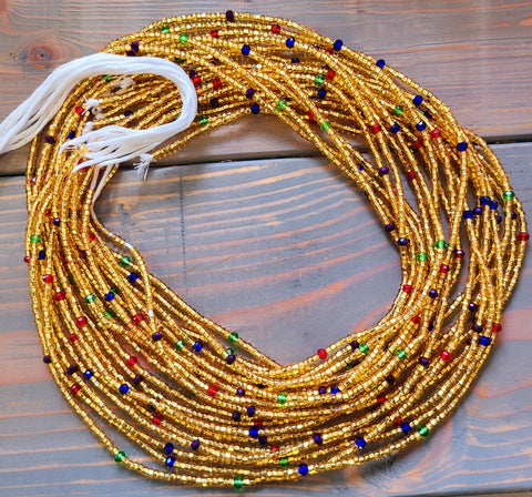 Muti Colored Gold Waist Bead