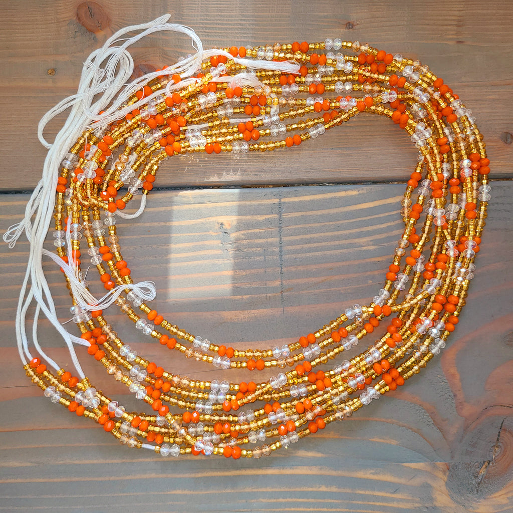 Orange, Gold, Clear Waist Bead