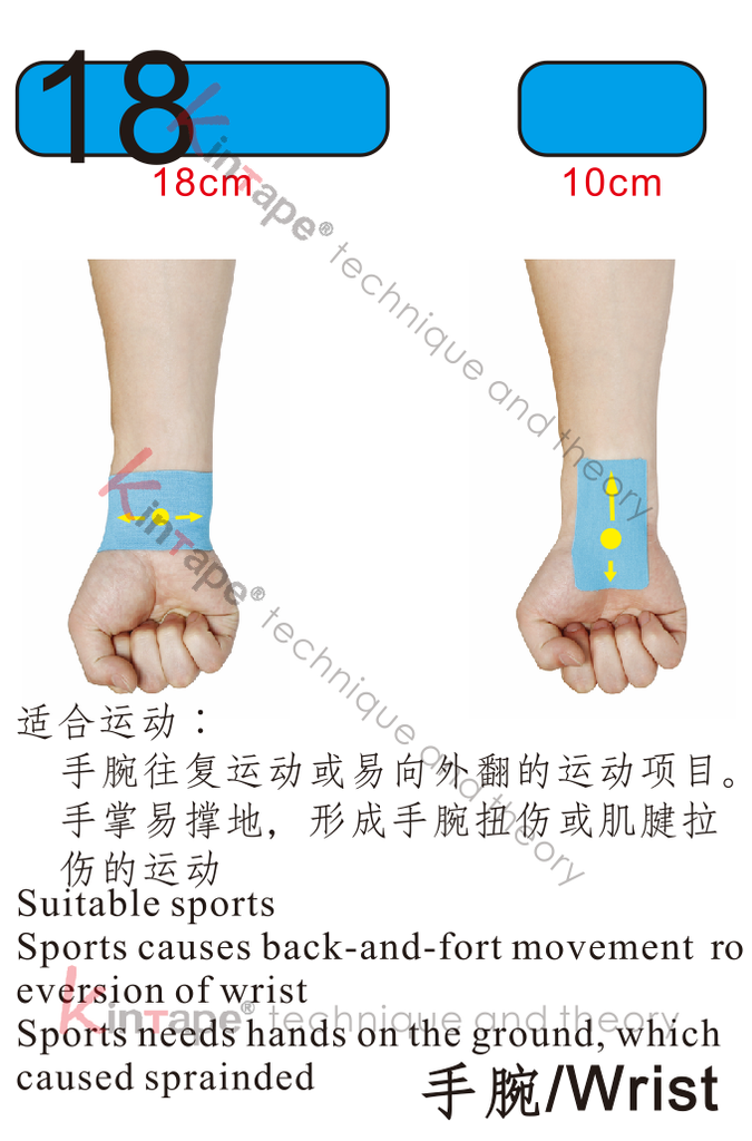 Kintape application of wrist for sport