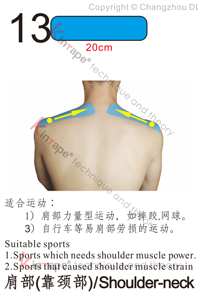 Kintape application of shoulder-neck for sports