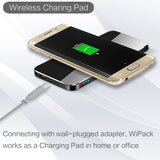 Qi Wireless Charging Pad Transmitter with 3000mAh Battery Power Bank - Black