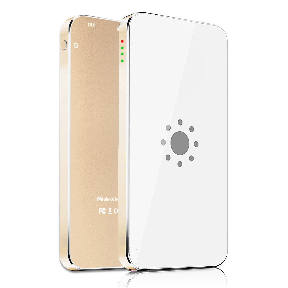Wireless Charging Transmitter with 3000mAh Battery Pack for iPhone 6S - Gold