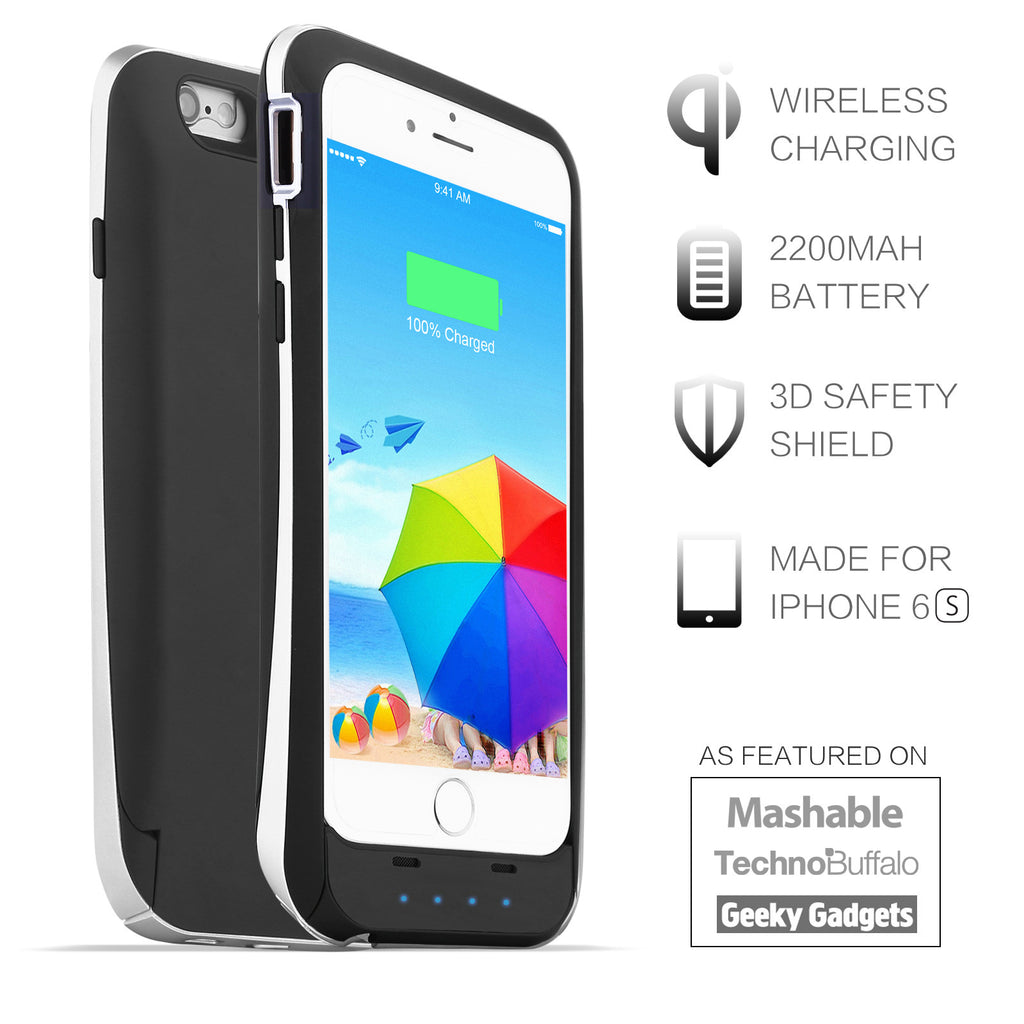 2200mAh Wireless Charging Battery Case for iPhone 6 6S 4.7 inches - Black