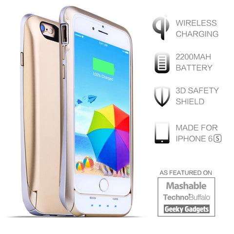 2200mAh Wireless Charging Battery Case for iPhone 6 6S 4.7 inches - Gold