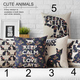 Cat Cushion Cover KEEP CALM AND LOVE CATS