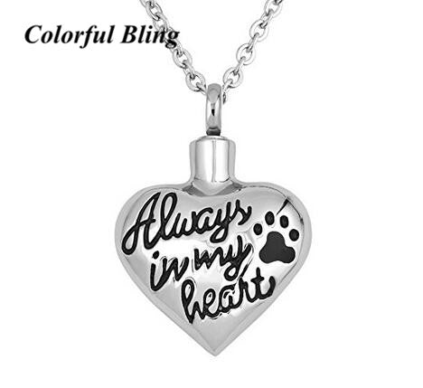 "Pet memorial cremation urn necklace ""Always In My Heart"""