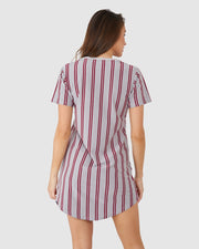 Restless Tee Dress - Burgundy Stripe
