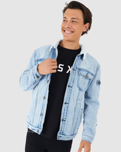 Tibetan Denim Jacket - South Beach Blue