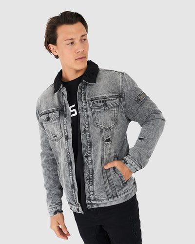 Tibetan Denim Jacket - Grey Snow