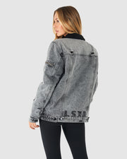 Unisex Tibetan Jacket - Grey Snow